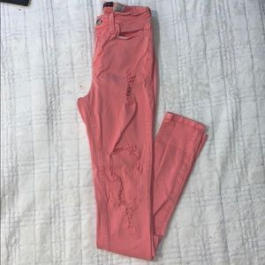 High Waisted Distressed Coral Skinny Jeans
